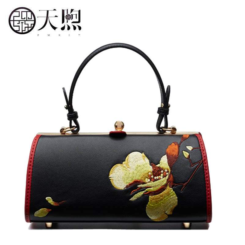 D'origine Vache Black Vintage Chinois Main Style Broderies Femelle De À Sac Sacoche La wIYWq7O