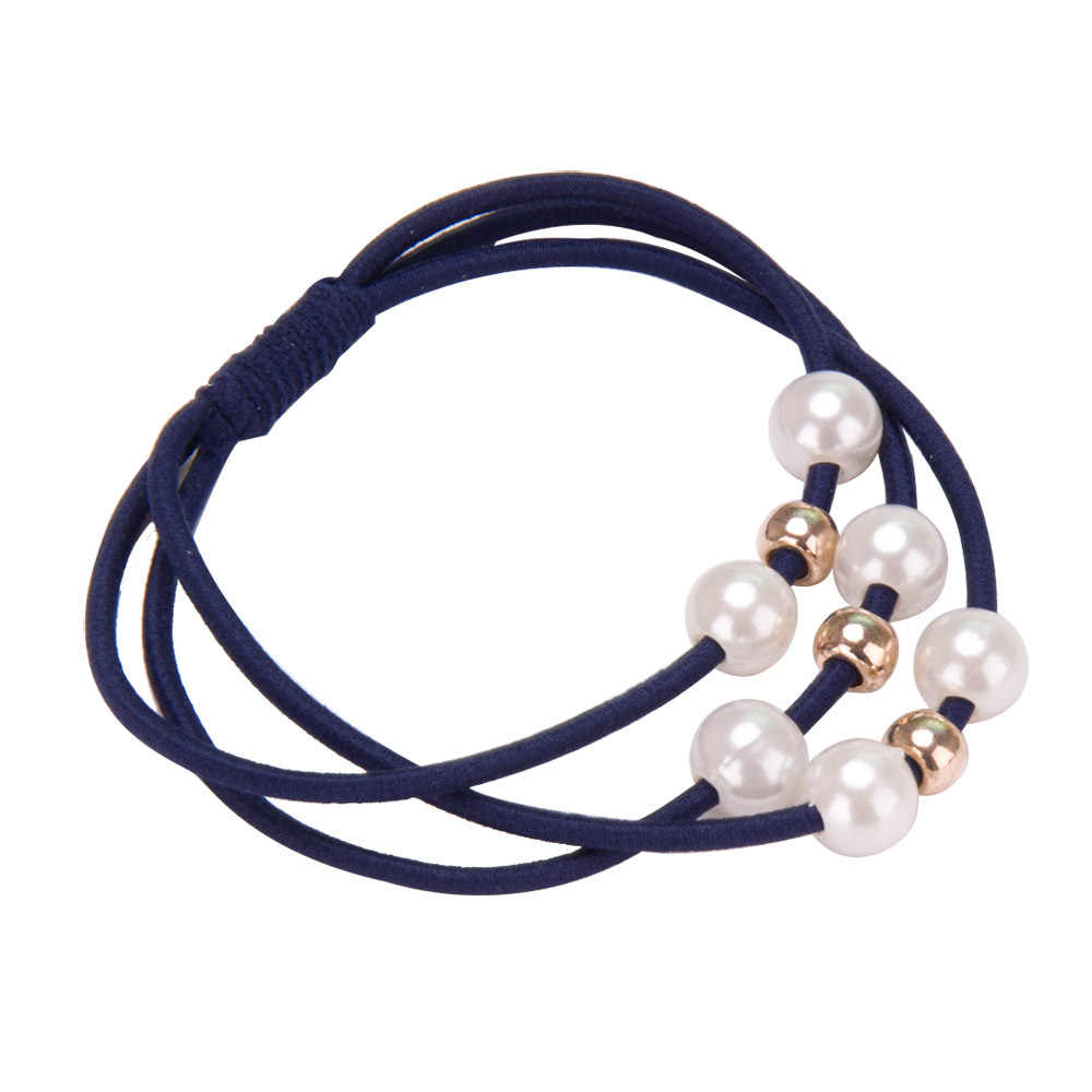 2018 อุปกรณ์เสริมผมเพิร์ลยืดหยุ่นยางวงแหวน Headwear สาวผมวงยืดหยุ่นผมหางม้า Holder Scrunchy เชือกผมเครื่องประดับ