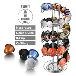 Coffee Pod Holder Stand Rotary Capsule Tower Rack Nescafe Dolce Gusto Nespresso Universal Rotatable Coffee Pods Storage Shelves