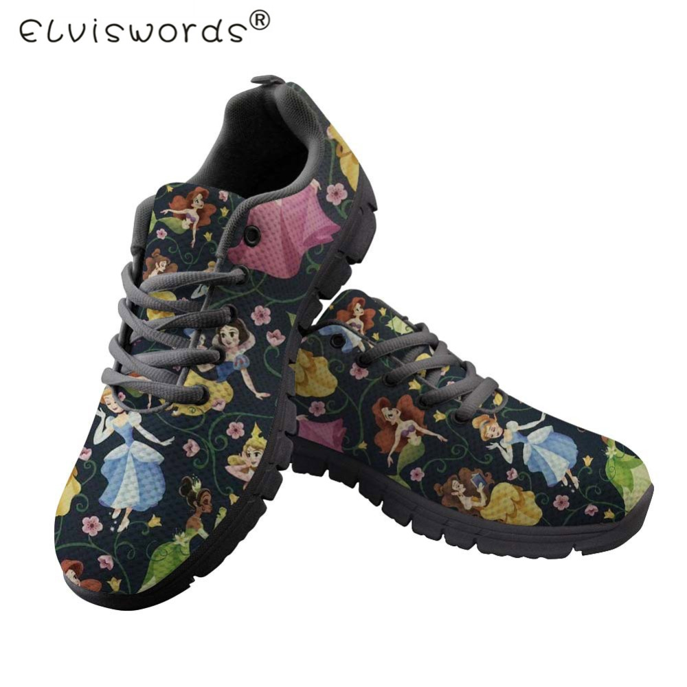 ELVISWORDS Women Flats Shoes Princess Cute Shoes Teens Girls Sneakers Lace-up Comfortable Nurse Shoes Zapatos Mujer Black White
