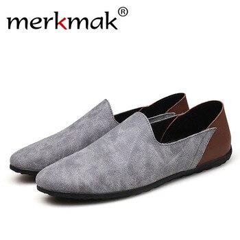 Merkmak duży rozmiar 38-48 Slip On casualowe męskie mokasyny wiosna jesień mokasyny męskie buty oryginalne męskie skórzane płaskie buty obuwie buty