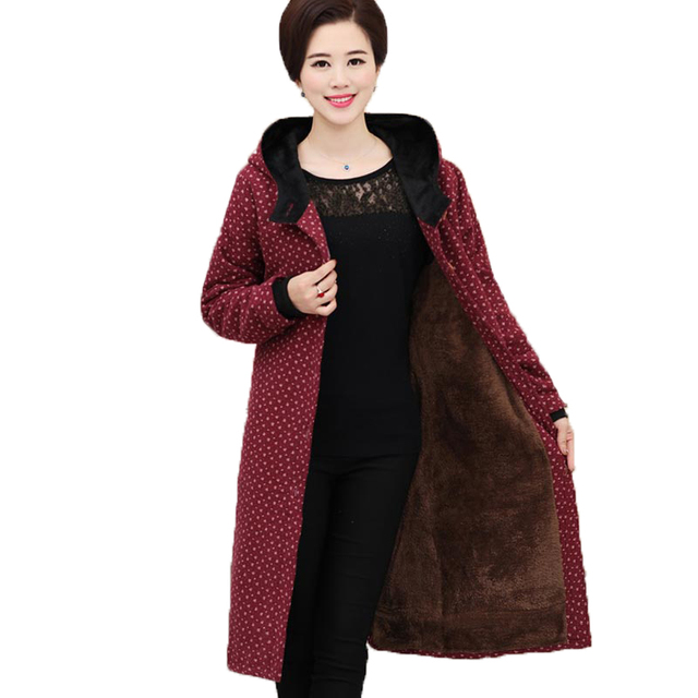 Женская мода пальто среднего возраста матери одежда давно с капюшоном сгущает пальто свободно плюс размер 5xl теплый печати верхняя одежда kp0950