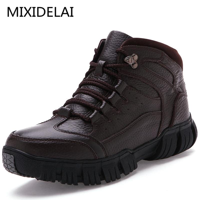 MIXIDELAI Super Chaud Hiver Hommes Bottes bottes en cuir véritable Hommes Chaussures D'hiver Hommes Militaire bottes en fourrure Pour chaussures pour hommes Zapatos Hombre - 2