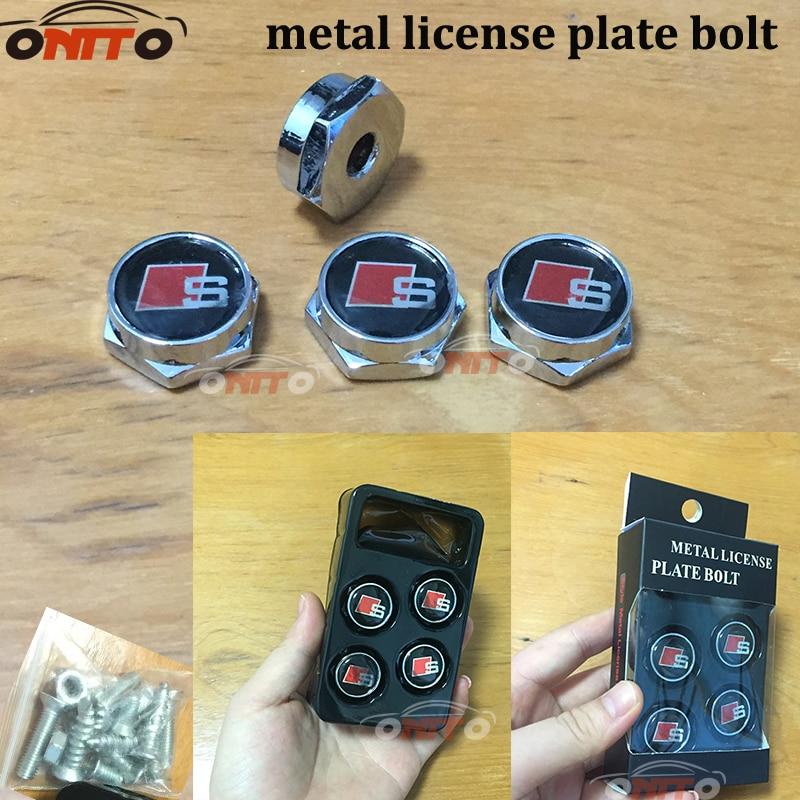 4pcs/set Metal License Plate Frame Bolts Screws For AUDI