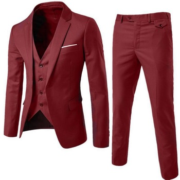 SHUJIN Men 3 Pieces Solid Classic Blazers Sets Men Business Blazer +Vest +Pants Suits Sets Spring Autumn Oversize Wedding Set Men's Suits