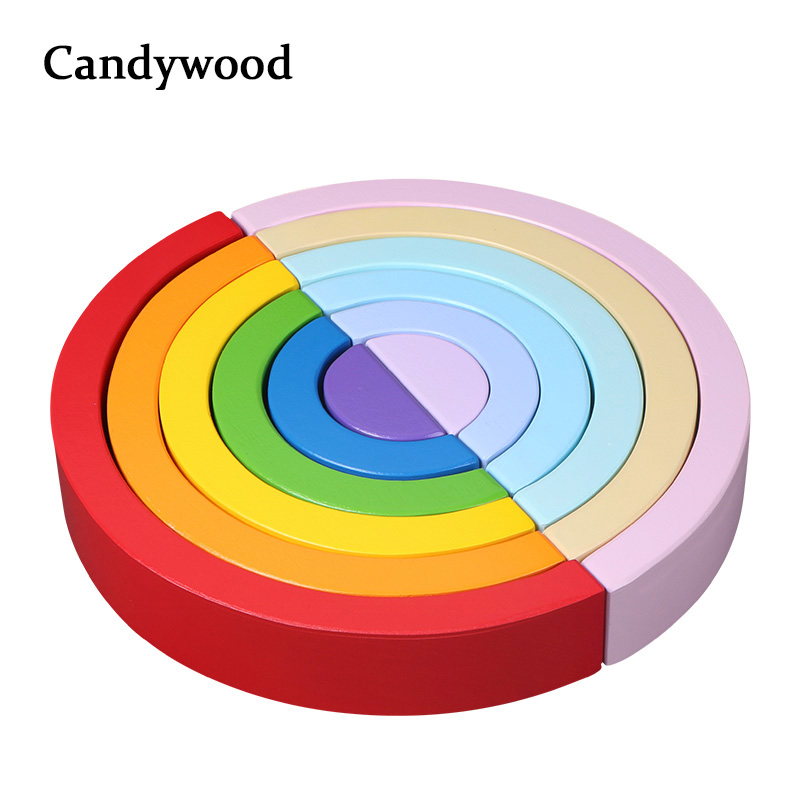 2019 New Colorful Wood Rainbow Building Blocks Toys Creative Assembling Wooden Blocks Circle Set Educational Toys For Children
