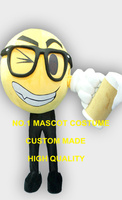 Wholesale Happy Face Beer Cheers Mascot Costume Adult Cartoon Mascotte Carnival Celebration Happy Face Mascotte Fancy Dress 1860