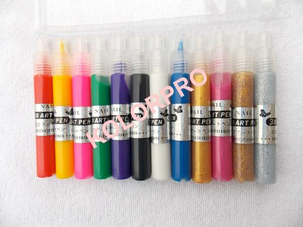 12pcs Colors 3d Nail Art Pen Acrylic Paint Drawing Diy Varnish