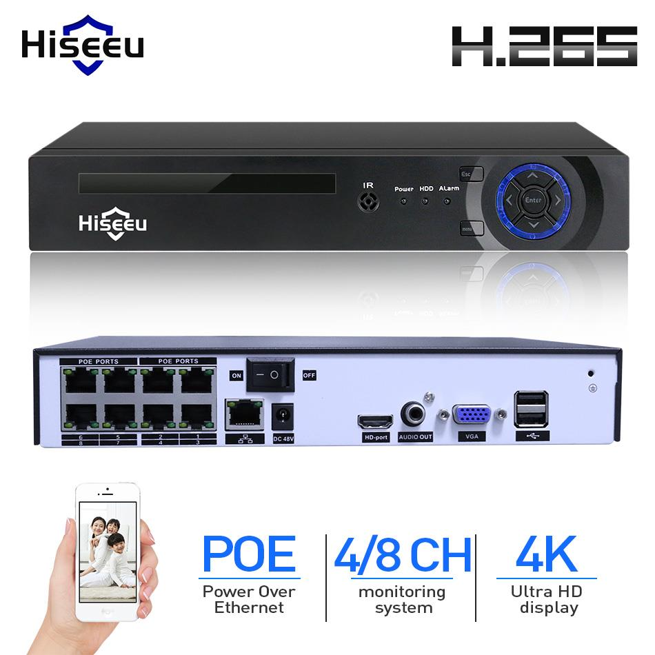 Hiseeu H.265 H.264 4/8CH POE NVR Security IP Camera video Surveillance CCTV System P2P ONVIF 2MP/5MP/ 4K Network Video Recorder
