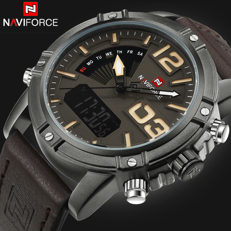 купить NAVIFORCE Brand Watches Men watch Fashion Casual Sport Men Waterproof Leather Quartz Watch Man military Clock Relogio Masculino по цене 1495.27 рублей