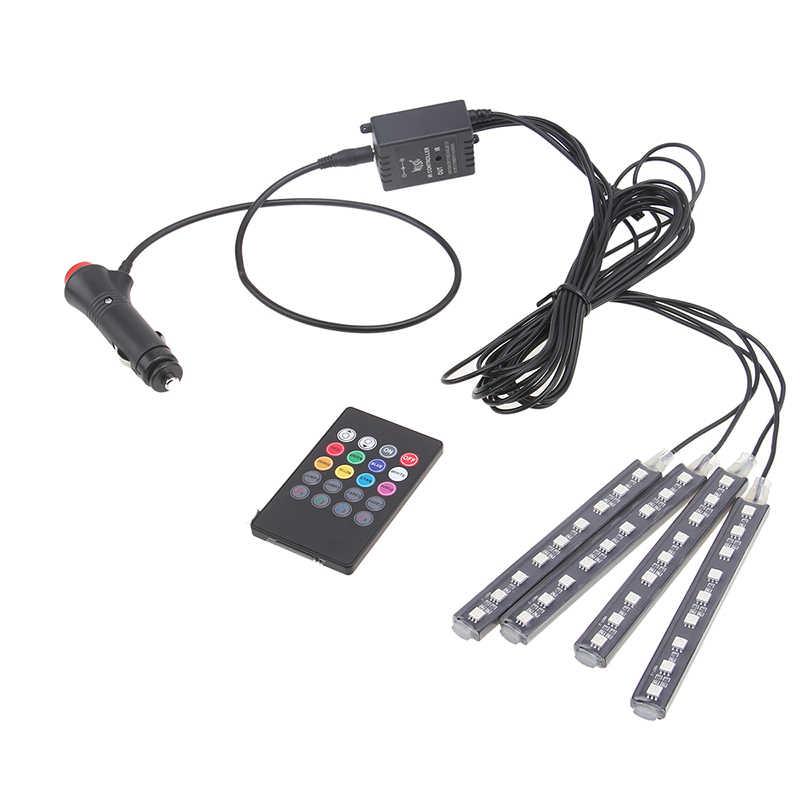 POSSBAY Car RGB Lights LED Strip Neon Lamp Decorative Atmosphere Lights Wireless Remote/Music/Voice Control Car Interior Light