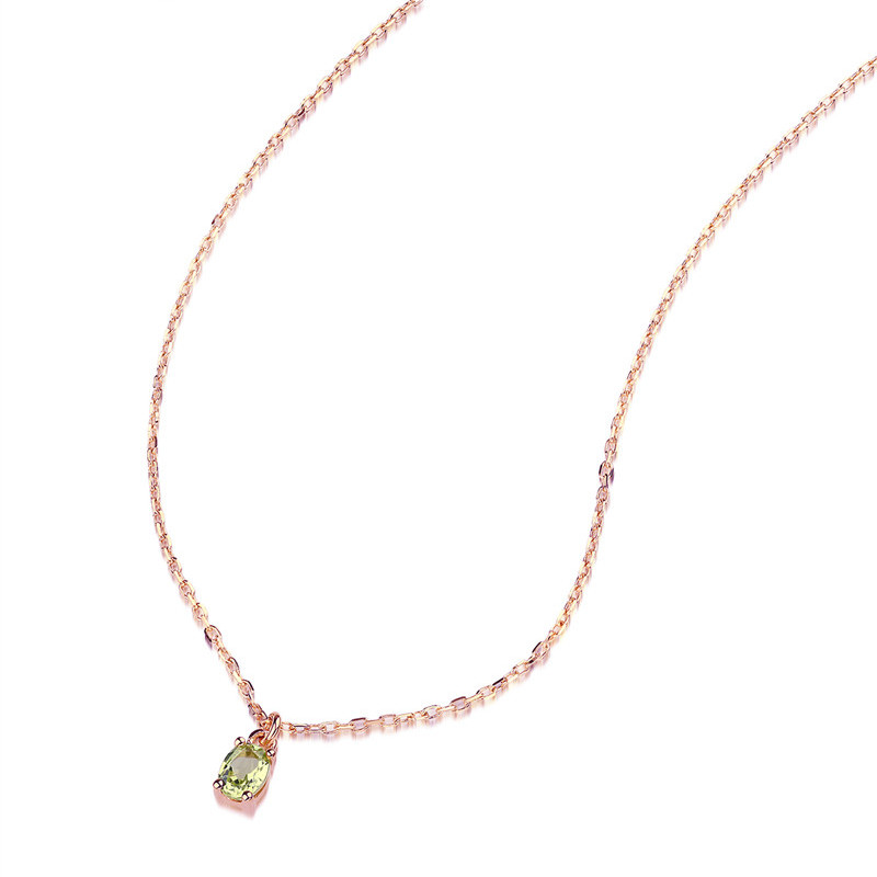 AINUOSHI 18 K or péridot pendentif collier femme Rose/jaune or fiançailles mariage anniversaire chaîne collier bijoux - 4