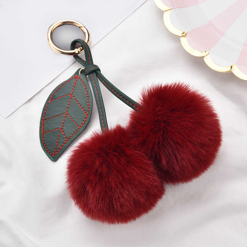 Moda de Nova Bonito Fofo Artificial Pele De Coelho Pompom Bola Folha Cereja Keychain Chaveiro Bolsa Pingente de Chave Do Carro Anel de Cadeia