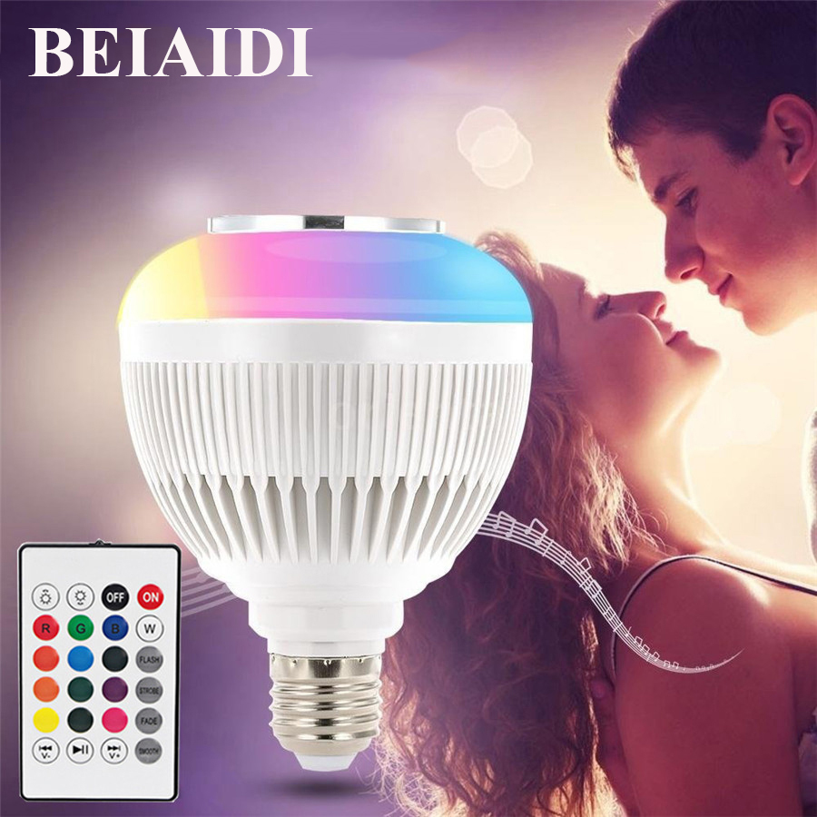 BEIAIDI 12W E27 Smart RGB Bluetooth Speaker Bulbs With Remote Controller Music Playing Lamp LED Audio Speaker RGB LED Bulb Lamp smuxi e27 led rgb wireless bluetooth speaker music smart light bulb 15w playing lamp remote control decor for ios android