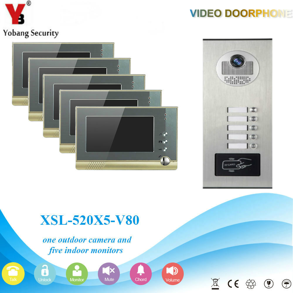 YobangSecurity Video Door Intercom 7Inch Video Door Phone Doorbell Intercom System RFID Access Door Camera For 5 Unit Apartment apartment intercom system 7 inch mointor 4 unit apartment video door phone intercom system video intercom doorbell doorphone kit