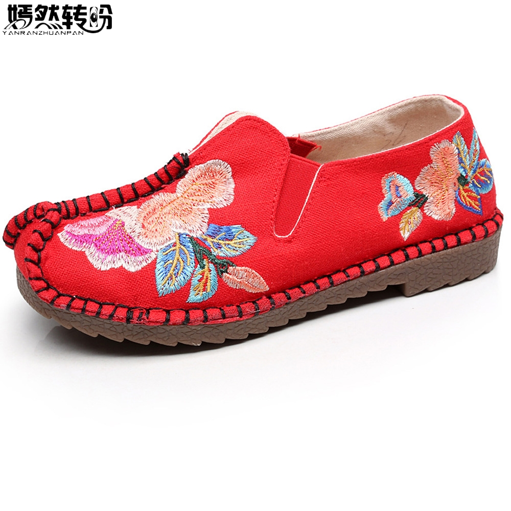 2017 New Women Shoes Cotton Linen National Embroidered Shoes Woman Slip on Dance Ballet Zapatos De Mujer vintage women flats old beijing mary jane casual flower embroidered cloth soft canvas dance ballet shoes woman zapatos de mujer