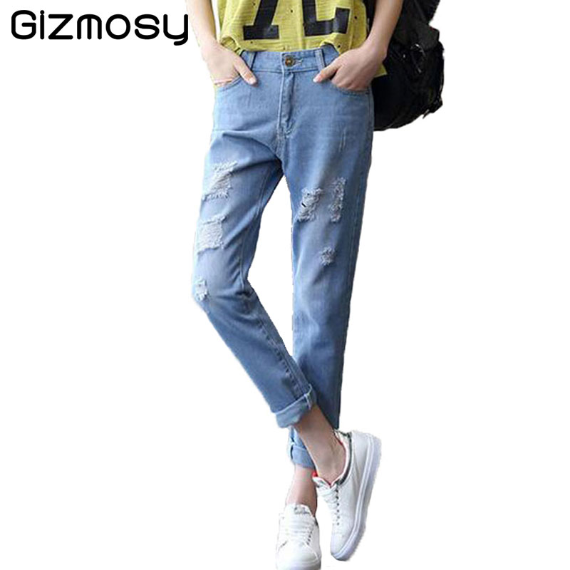 Vintage Jeans Woman Casual ripped jeans Ankle-Length Plus Size boyfriend jeans for woman Loose Harem hole denim pants SY562 loose ankle length jeans for women 2017 new vintage distressed high waist ripped denim harem pants woman trousers plus size