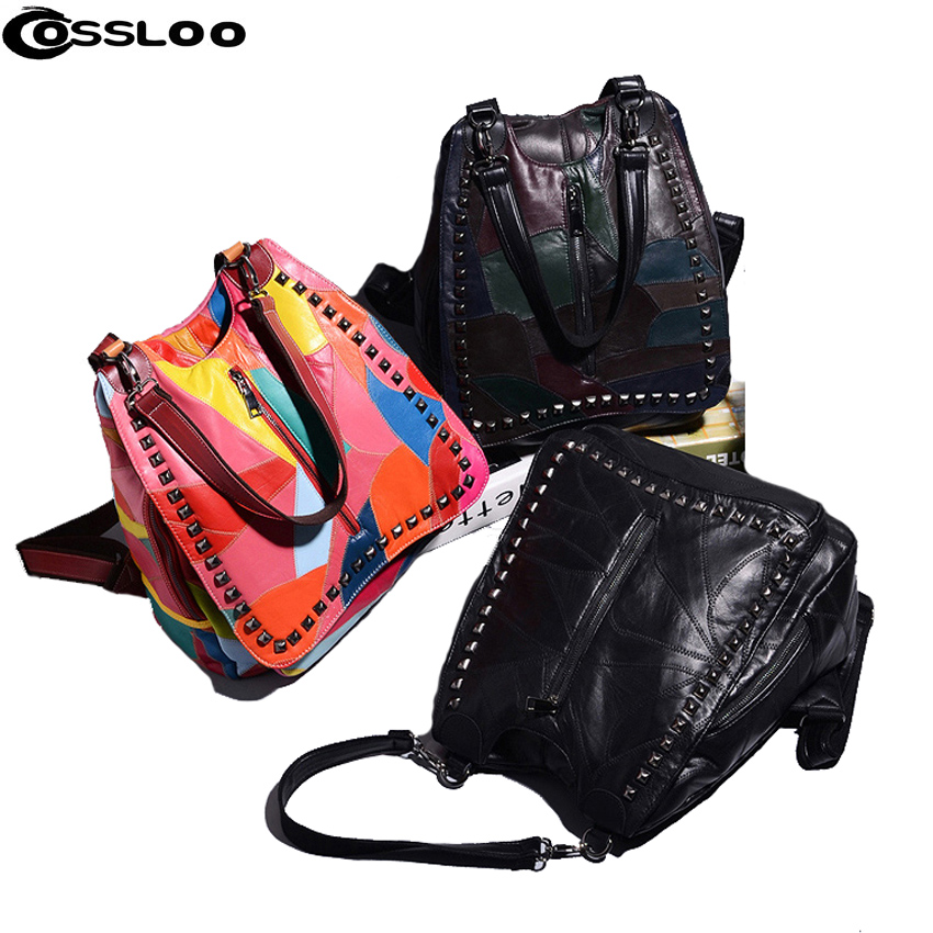 COSSLOO women backpack genuine leather back pack sheepskin Famous Brand lady real leather backpacks fashion preppy style bag twenty four women backpack real genuine leather back pack casual korean style lady travelling bag zipper luxury brand mochila
