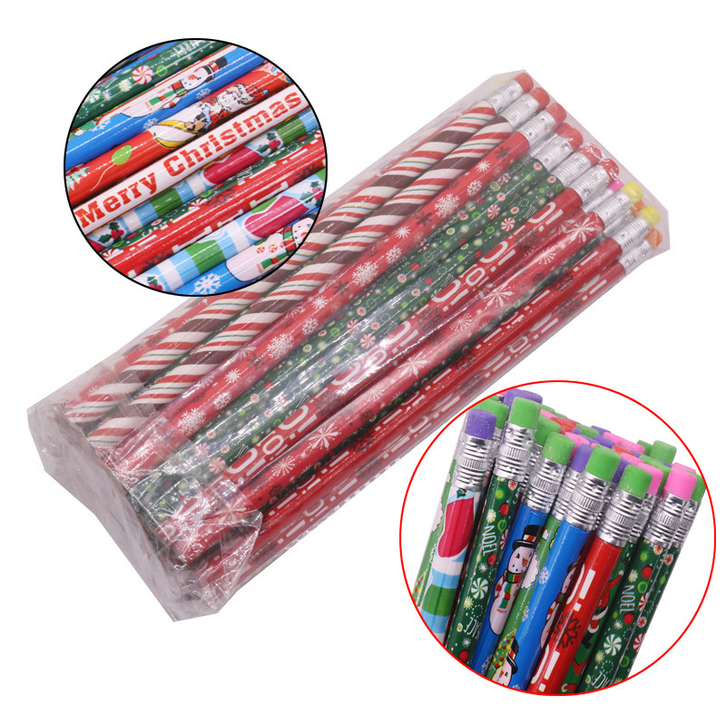 With Eraser Wood HB Pencil 187*8mm Color Pen Pole Christmas Pattern Children Students Painting Sketch Write Student Stationery
