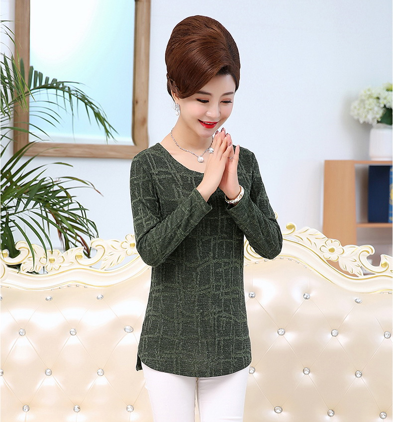 WAEOLSA Autumn Woman Basic Tops Red Khaki Green Knitted Blouses Middle Aged Womens Round Collar Tunic Mother Casual Blouses Plus Size Tops (10)