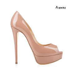 купить Aiyoway Fashion Women Shoes Ladies Peep Toe High Heel Pumps Platform Autumn Spring Clubwear Party Dress Shoes Slip On Thin Heels по цене 3505.71 рублей