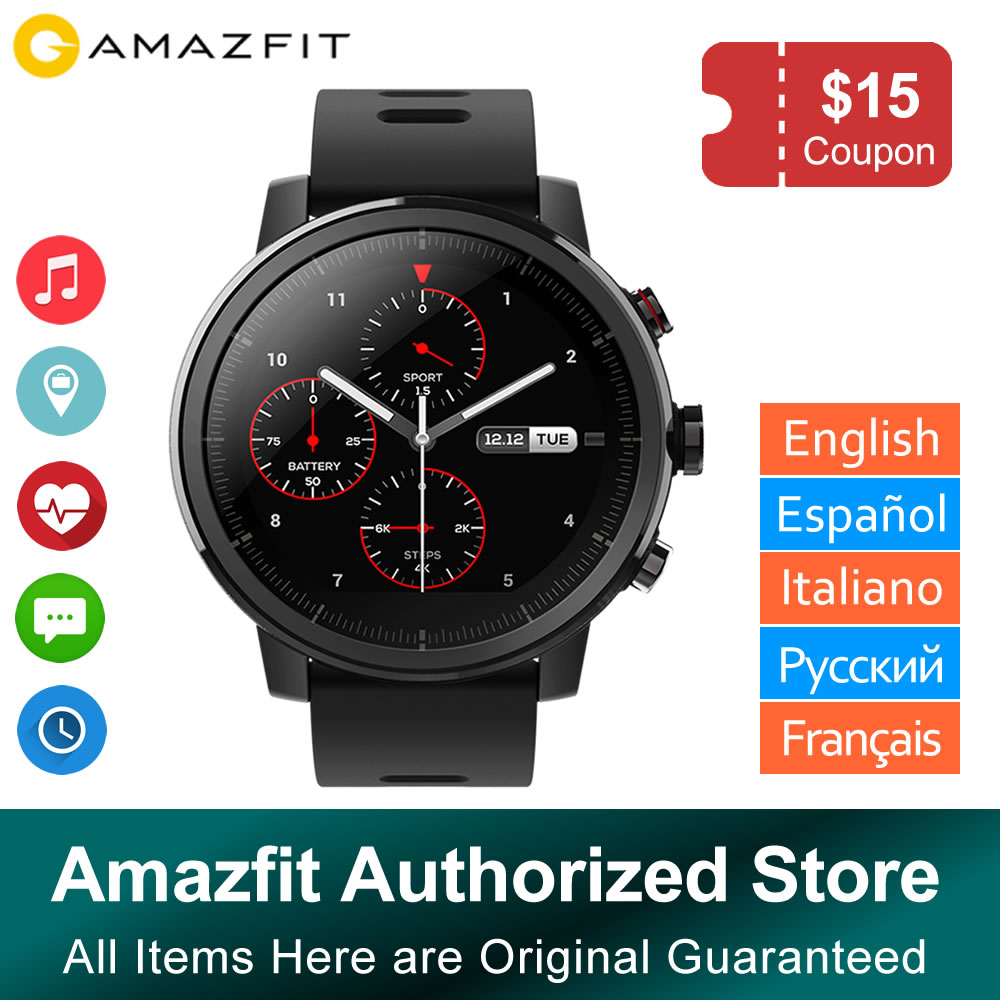 Xiaomi Huami Amazfit Stratos 2 Amazfit Pace 2 Smartwatch with GPS PPG Heart Rate Monitor 5ATM Waterproof Sports Smart WatchXiaomi Huami Amazfit Stratos 2 Amazfit Pace 2 Smartwatch with GPS PPG Heart Rate Monitor 5ATM Waterproof Sports Smart Watch