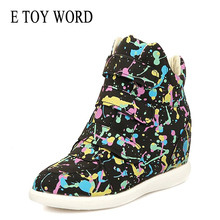 E TOY WORD height increasing sneakers hook & loop Spring womens casual shoes breathable graffiti Shoes women Tenis Feminino