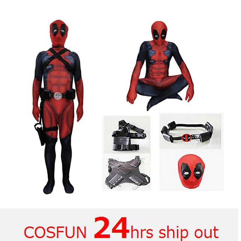 Deadpool sword-fighting version Deadpool cosplay muscle Deadpool  Costume Wade Wilson Costume Red Deadpool Cosplay Jumpsuit