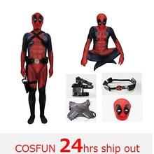 Deadpool sword-fighting version Deadpool cosplay muscle Deadpool  Costume Wade Wilson Costume Red Deadpool Cosplay Jumpsuit