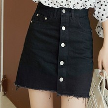 Women Summer High Waist Single-breasted Denim Skirts Casual Pocket Mini Jeans Fashionable Streetwear Black