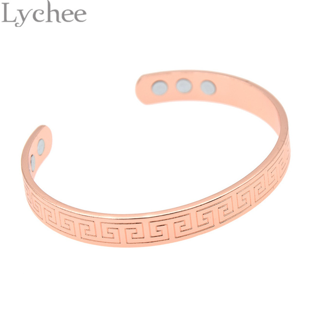 30f0654fb28 Lychee Retro Magnetic Healing Therapy Copper Bracelet Bangle Cuff Arthritis  Pain Relief Jewelry for Men Women