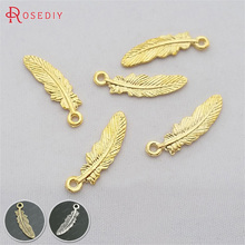(29310)100PCS 22x6MM Gold Color Plated Zinc Alloy Feathers C
