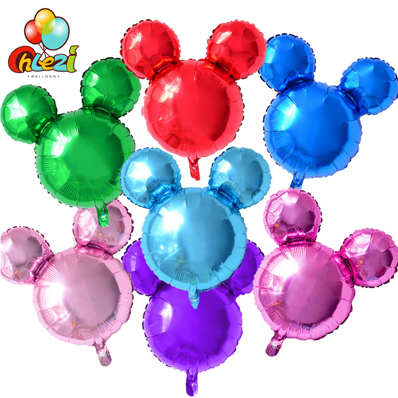 10pcs Pure color Mickey Mouse Head Shape Balloons Cartoon Minnie Inflatable air Globos Birthday Party decor baby shower kids toy
