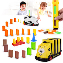 Put Up The Domino Game Toy Set Automatic Placement Train with Light Educational Building Blocks DIY Toys 100pcs Domino blocks(China)