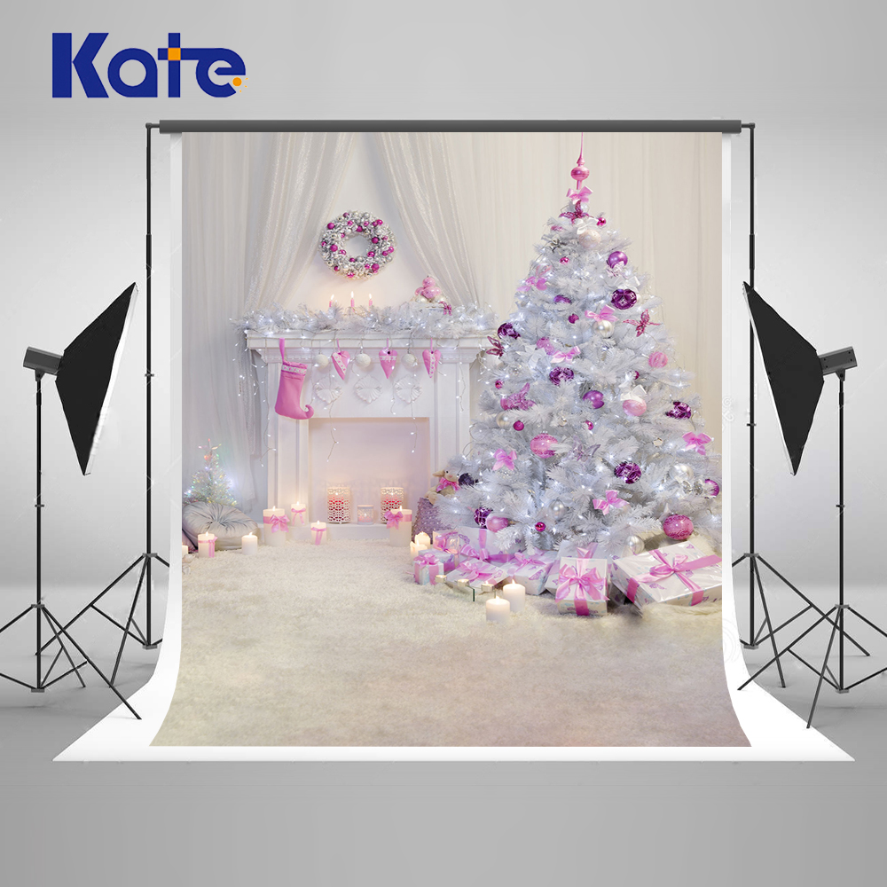 Kate 10X10FT Christmas Photography Background White Indoor Custom Photo Backdrops With Christmas Tree For Children Photo Studio shengyongbao 10x10ft vinyl custom wall photography backdrops studio props photography background tw20
