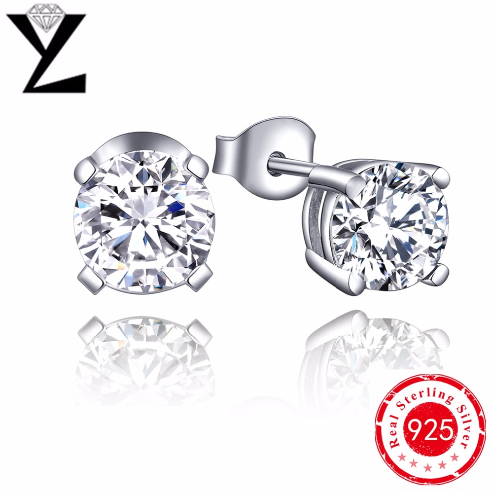 Halo Stud Earrings Solid 925 Sterling Silver Earrings For Women Wholesale  Round Cut Created Diamond Bridal