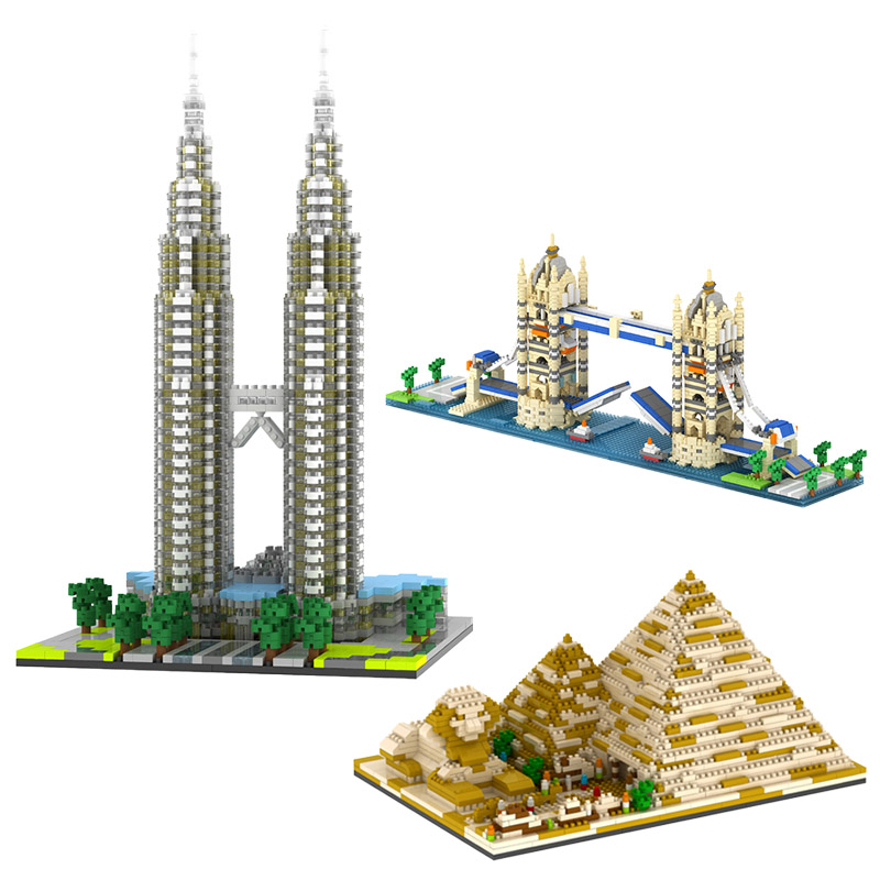 3D DIY Mini Size Diamond Building Blocks Toy Pyramids World Famous Buildings Tower Model Construction Educational kids Toys Gift cubicfun 3d puzzle paper building model assemble gift diy baby toy the hall of supreme harmony world s great architecture mc127h