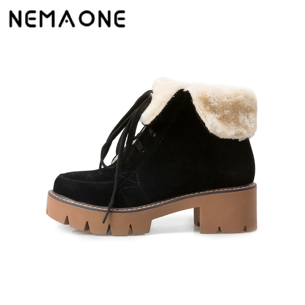 NEMAONE New Black red yellow ankle women boots women fashion winter platform boots lace up women shoes square heel snow boots ...
