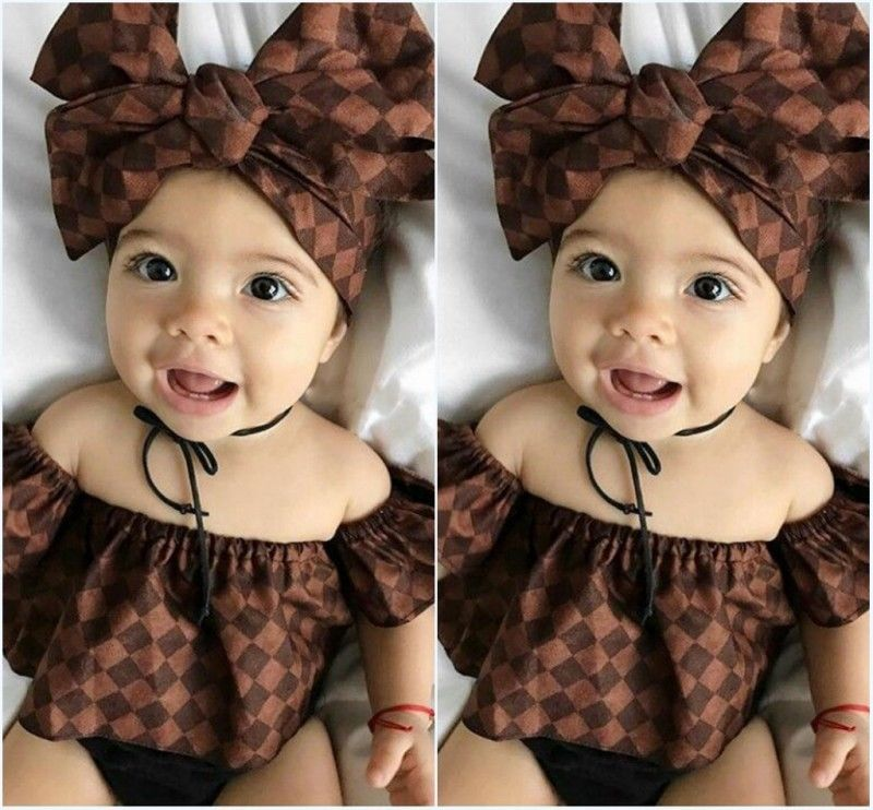 Newborn Infant Baby Girl Clothes New Arrival Girls Off Shoulder Tops Headband Shorts 3pcs Outfits Costumes