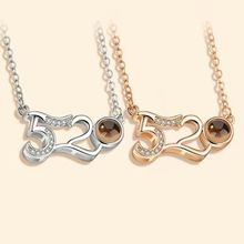 1PC 520 I love you shape clavicle chain One hundred language projection necklace Couple birthday gift