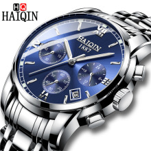 2018 HAIQIN Top Brand Luxury Mens Watches Erkek Kol Saati Date Clock Men Sports Watch Silver Quartz Watch Relogio Masculino+Box fashion erkek saat quartz watch bayan kol saati fashion casual leather three movements mens watches top brand luxury relogio box