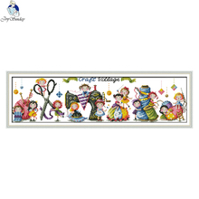 Joy sunday cartoon style Craft village free counted cross stitch christmas design handwork embroidery kits for gifts