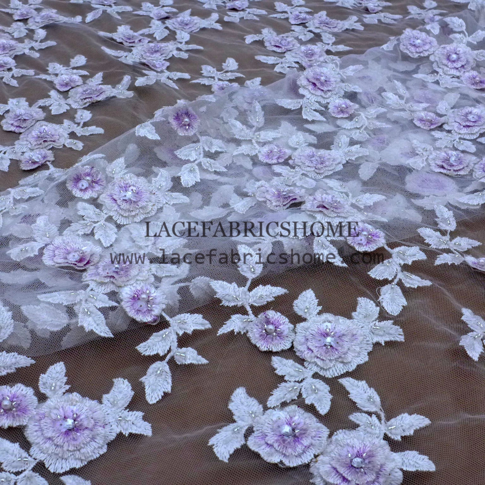 New fashion purple mixed white 3D pearls embroidery flowers beaded on tulle wedding dress/stage dress lace fabric 130cm by yard