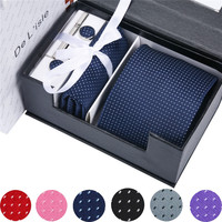 Fashion Neck Tie Sets Mens Accessories 2019 Men Neckties Pocket Square Mens Ties Set