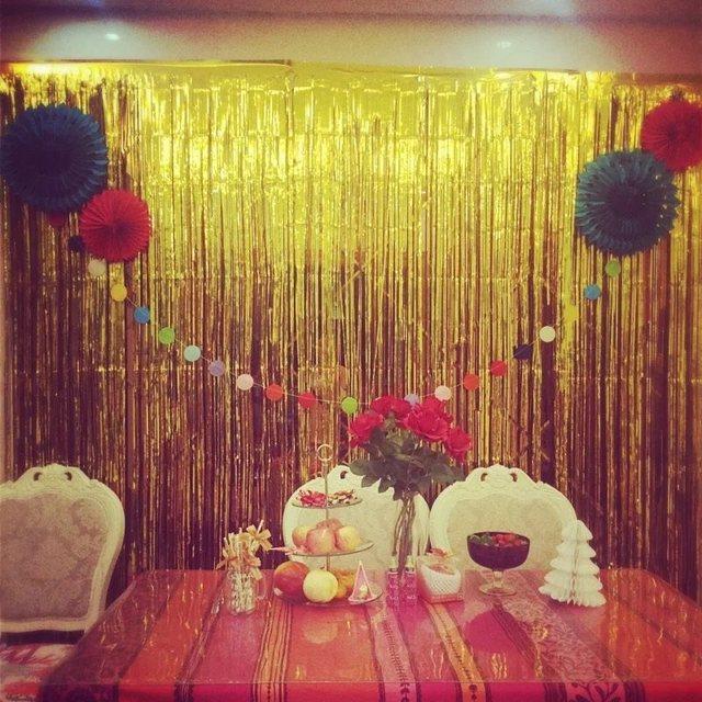 Buy 6 colors glitter foil tinsel fringe for Backdrop decoration for birthday