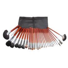 Professional Makeup Cosmetic Brush 29Pcs Kolinsky Hair Mahogany Cosmetics Tools With Leather Bag Kit Wholesale