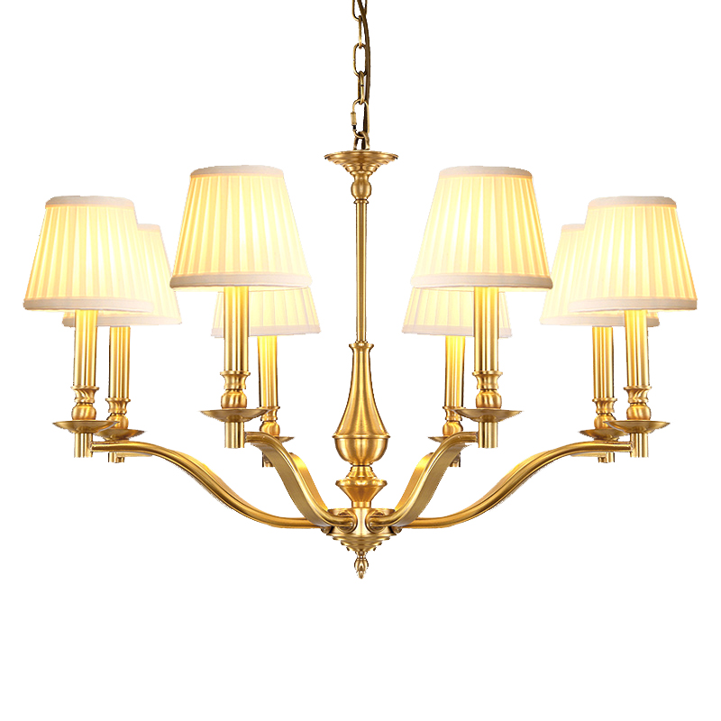 люстра chandelier 6 arm American sytle 8 Arm copper LED chandelier light vintage European style brass light fabric shade 3W warm white E14 led bulb