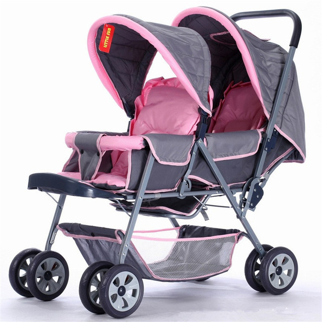 Sitting And Lying Adjustable Double Stroller Enlarged Twins