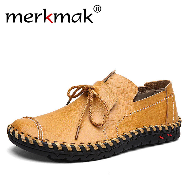 Merkmak Genuine Leather Casual Shoes Men Soft Loafers Moccasins Comfortable Basic Flats Men Handmade Brand Footwear Big Size 48 2017 new brand breathable men s casual car driving shoes men loafers high quality genuine leather shoes soft moccasins flats