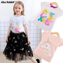 Camiseta de verano para niños y niñas, Tops de algodón para bebés, camisetas para niños, ropa para niños, camisetas de unicornio, ropa Casual de manga corta
